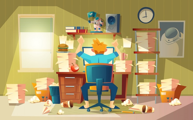 Home office in chaos with freelancer - deadline concept, approaching finishing time. Free Vector