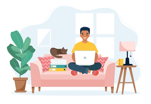 Home office concept, man working from home sitting on a sofa, remote work concept Premium Vector