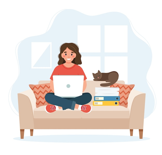 Home office concept, woman working from home sitting on a sofa, remote work concept Premium Vector