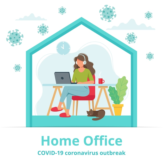 Home Office During Coronavirus Outbreak Concept, Female