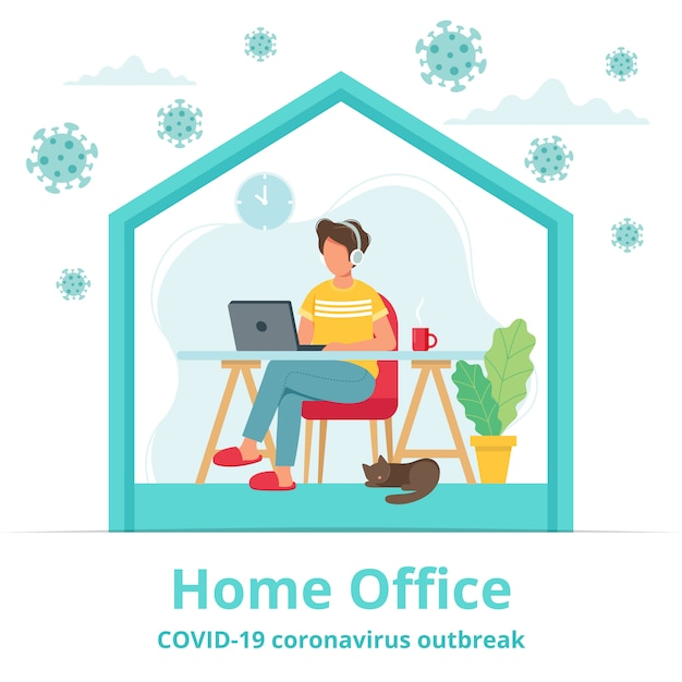 Home Office During Coronavirus Outbreak Concept, Male
