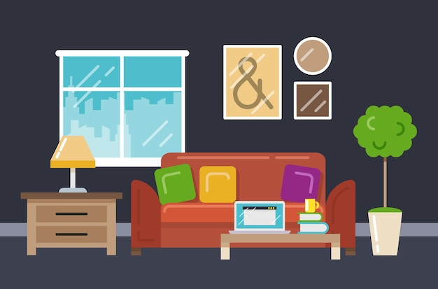 Home office interior in flat style. computer and workplace with book cup sofa. vector illustration Free Vector