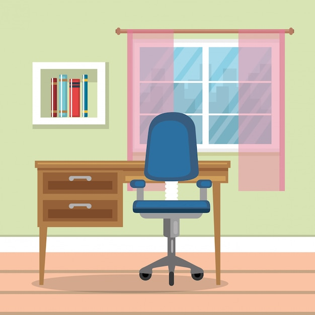 Home office place house Free Vector