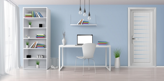 Home office sunny room with simple, white furniture 3d realistic vector interior. laptop with blank screen on work desk, bookshelf on blue wall, rack with clock and flowerpots illustration Free Vector