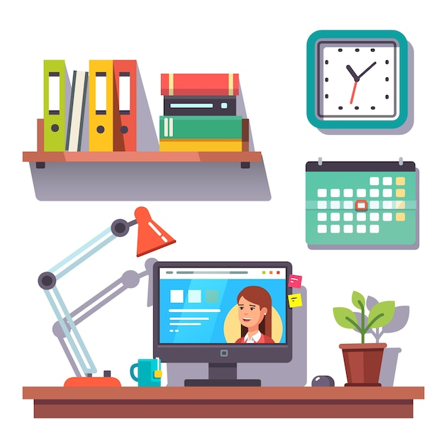 Home office wall with a calendar Free Vector
