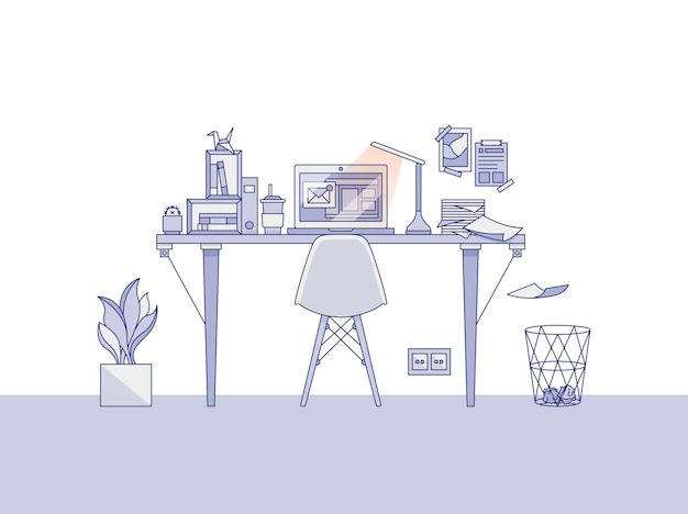 Home office workspace illustration Free Vector