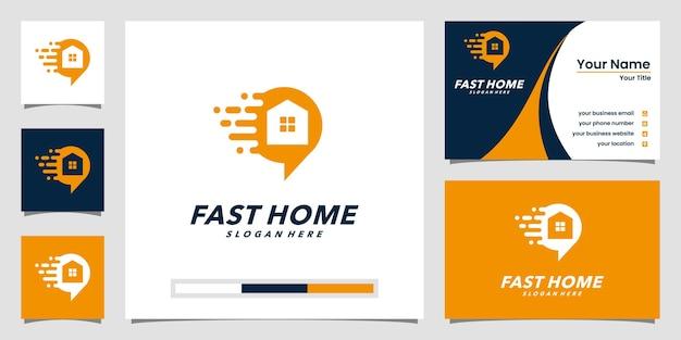 ホームオンラインロゴテンプレートと名刺デザイン Premiumベクター