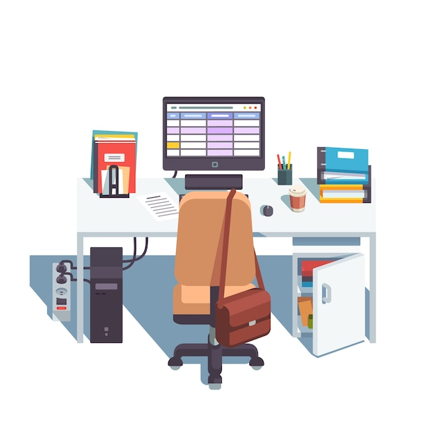 Home or office desk with casters chair, computer Vector | Free Download