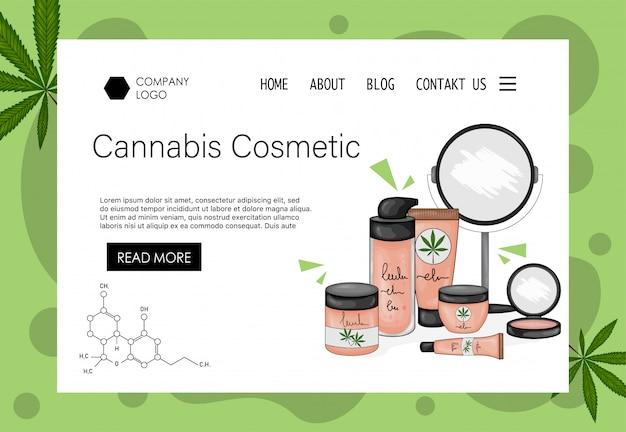 装飾的な化粧品のセットを持つ美容会社のホームページテンプレート。漫画のスタイル。図。 Premiumベクター