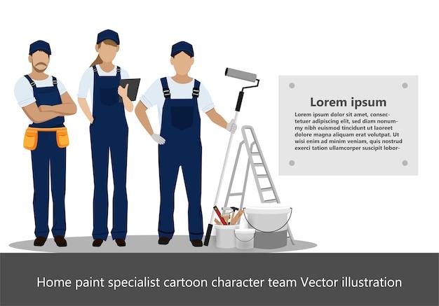 Home paint specialist cartoon character team Premium Vector
