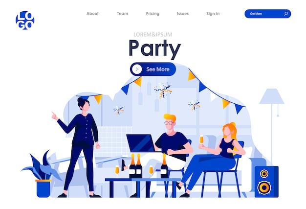 Домашняя вечеринка плоская целевая страница дизайн веб-шаблона Premium векторы