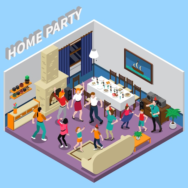 Home party isometric illustration Free Vector