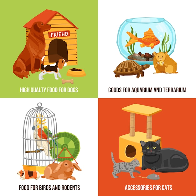 Home pets illustration Free Vector