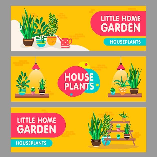 家の植物のバナーセット。棚に鉢植えの観葉植物は、テキストでイラストをベクトルします。フラワーショップのチラシやチラシのデザインのための家のインテリアと庭のコンセプト 無料ベクター