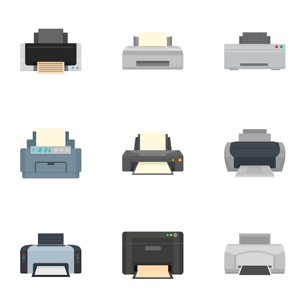 Home printer icon set, flat style Premium Vector