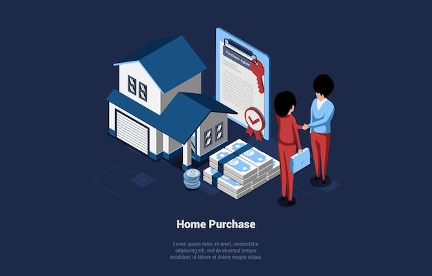 Домашняя покупка изометрические векторные иллюстрации. мультфильм 3d стиль композиция дома покупка и продажа концепции. два человека, пожимая руки возле небольшого здания, куча банкнот и подписанный договор недвижимости. Premium векторы