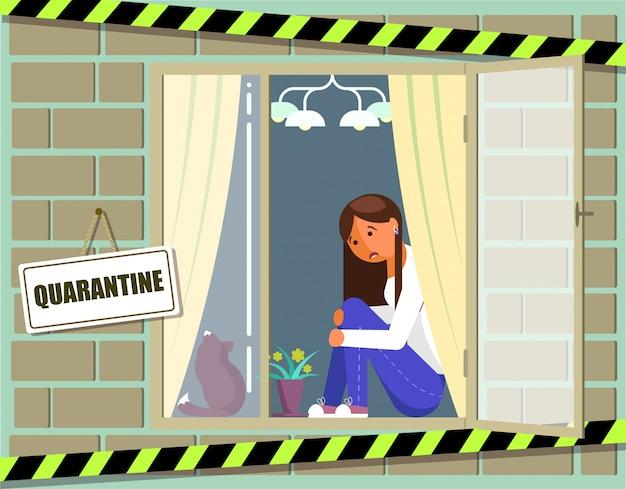 Домашняя карантинная вирусная эпидемия. молодая девушка в самоизоляции. профилактика и осведомленность респираторных заболеваний коронавируса. женщина заболела коронирусным вирусом и осталась дома. Premium векторы