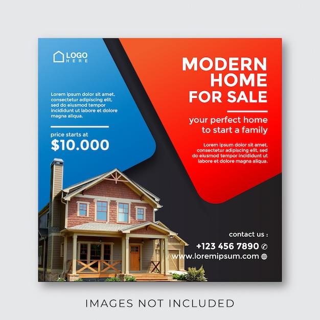 ソーシャルメディアのための家の不動産不動産正方形バナー Premiumベクター