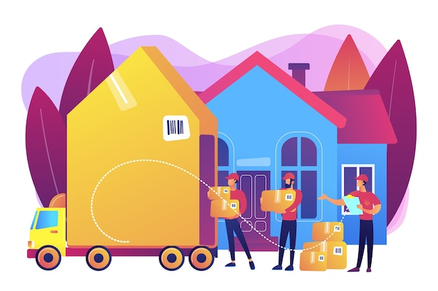 Home relocation, client boxes and cardboard containers in truck Free Vector