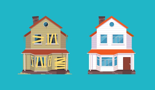 Home renovation. house before and after repair. new and old suburban cottage. isolated  illustration Premium Vector