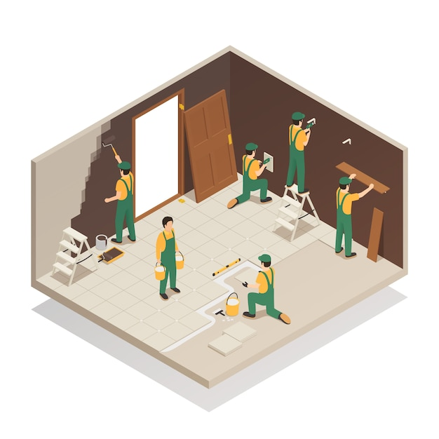 Home renovation isometric composition Free Vector