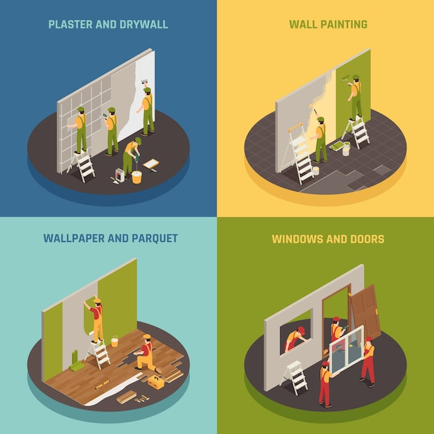 Home renovation isometric concept Free Vector