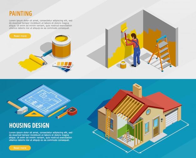 Home renovation isometric horizontal banners Free Vector