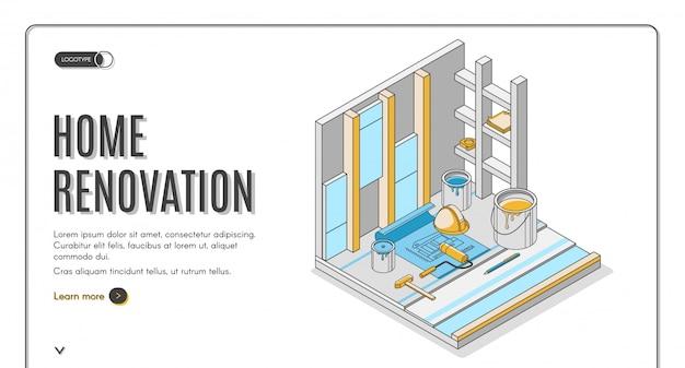 Pagina di atterraggio isometrica di servizio di riparazione di rinnovamento domestico o modello dell'insegna Vettore gratuito