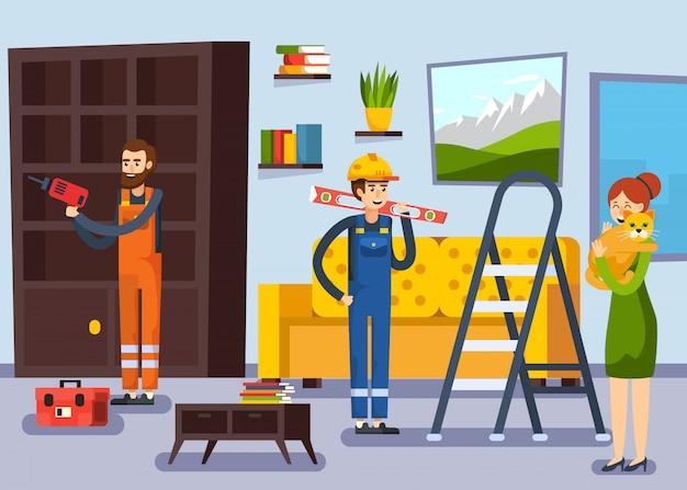 Home renovation workmen flat poster Free Vector