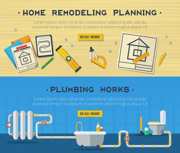 Home repair 2 flat banners set Free Vector