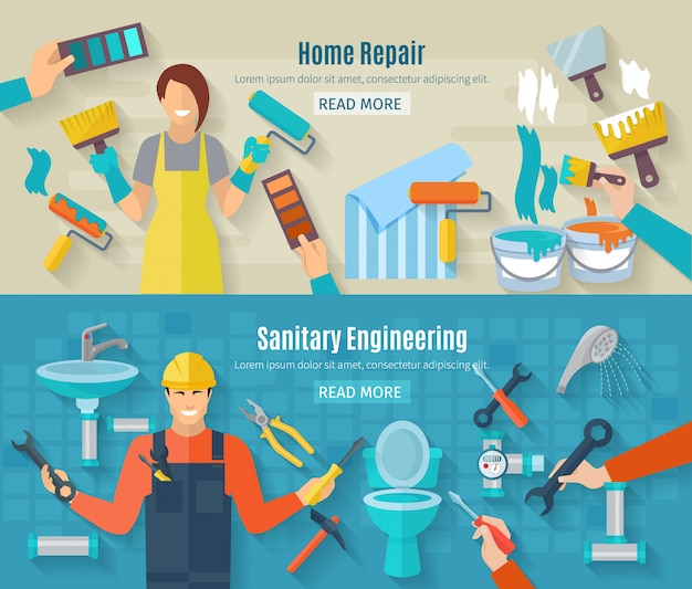 Home repair banner set with renovation and construction work elements Free Vector