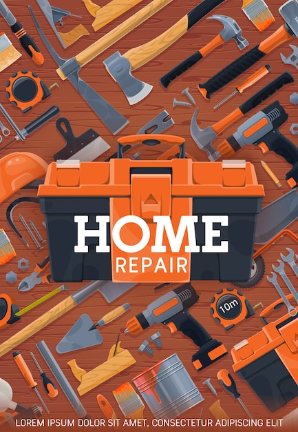 Home repair and construction work tools poster Premium Vector