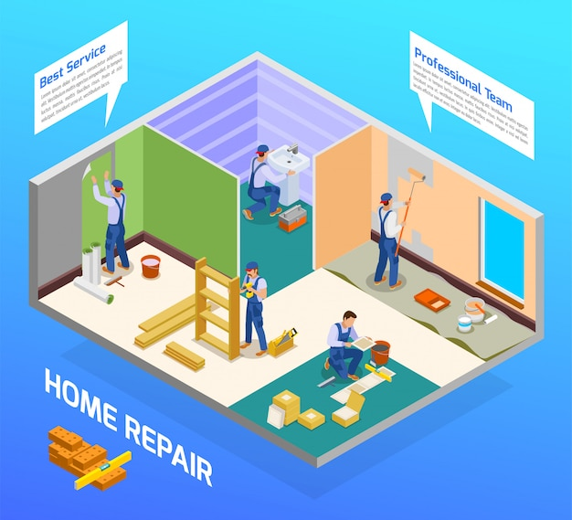 Home repair craftsman isometric composition with house remodeling professional team flooring painting sanitary installation service Free Vector