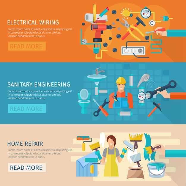 Home repair horizontal banner set with electrical wiring flat elements Free Vector