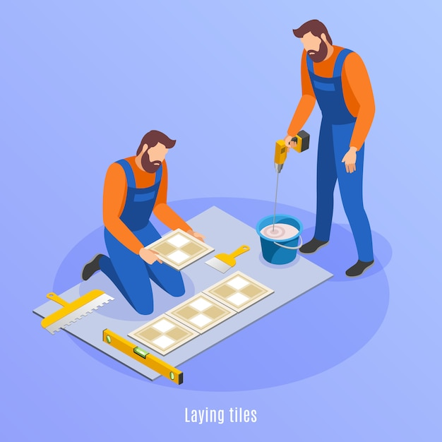 Home repair isometric background with two men in uniform preparing for laying tiles  illustration Free Vector