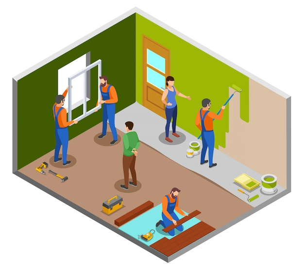 Home repair isometric design concept with craftspeople performing various works in room and owners giving instructions  illustration Free Vector