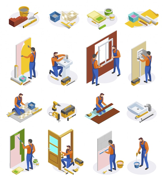 Home repair isometric icons set of tools and craftspeople performing  laying tiles pasting wallpapers doors and window installation isolated  illustration Free Vector