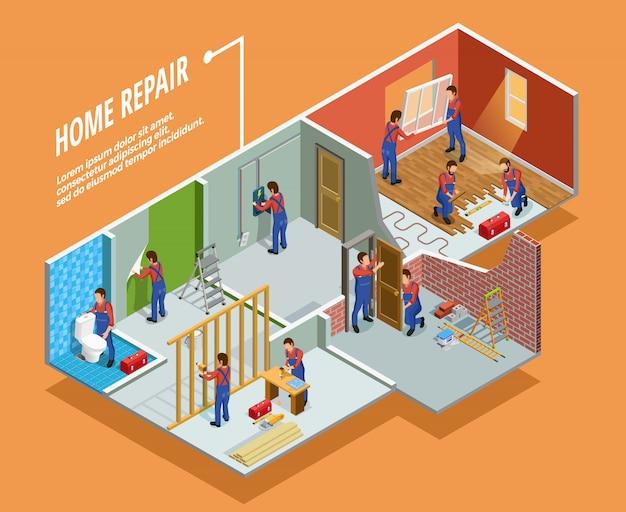 Home repair isometric template Free Vector