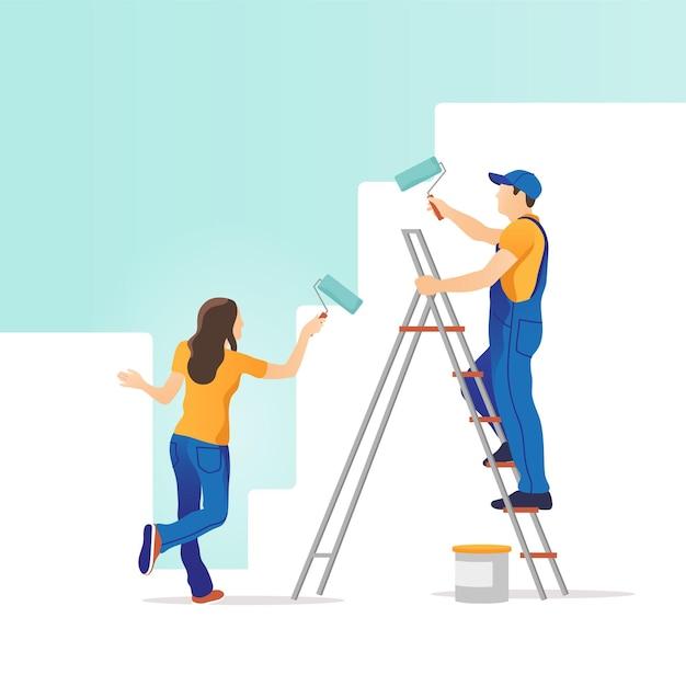 家の修理。男性と女性が新しい家の壁を描いています。 Premiumベクター