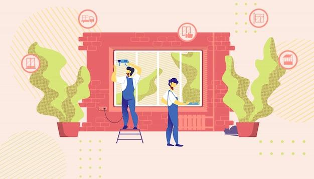 Home repair masters set up new windows in building Premium Vector