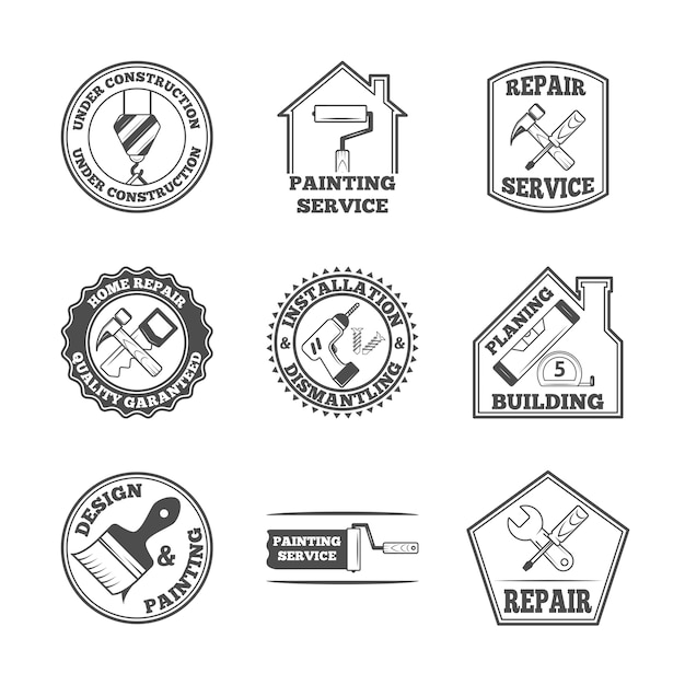 Home repair panting service quality building installation design labels set with black tools icons isolated  vector illustration Free Vector