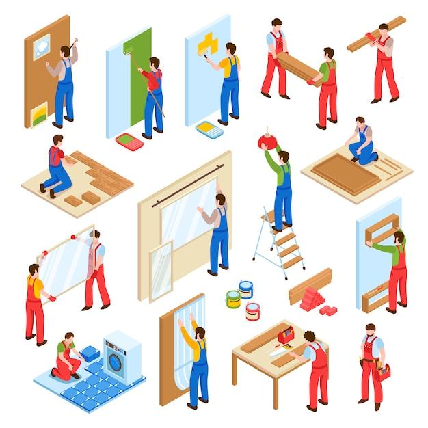 Ремонт дома ремонт реконструкция сервисных работников изометрическая коллекция Бесплатные векторы
