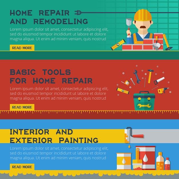 Home repair service flat banners ser Free Vector