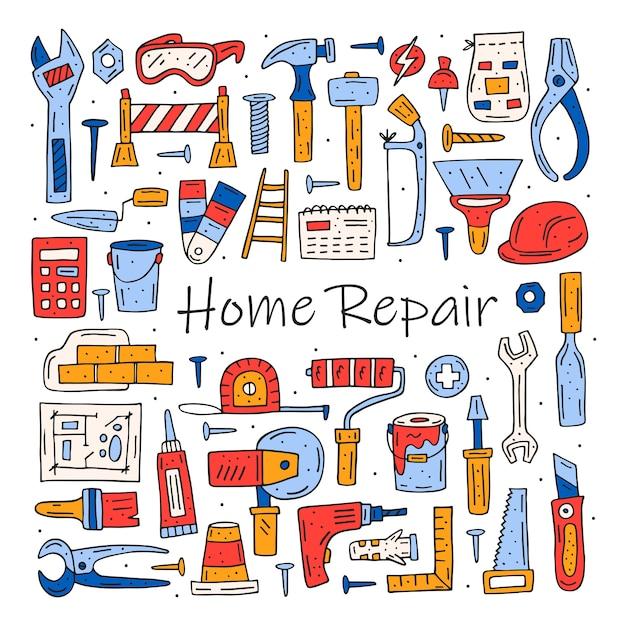 Инструменты для ремонта дома, мультипликационные инструменты Premium векторы