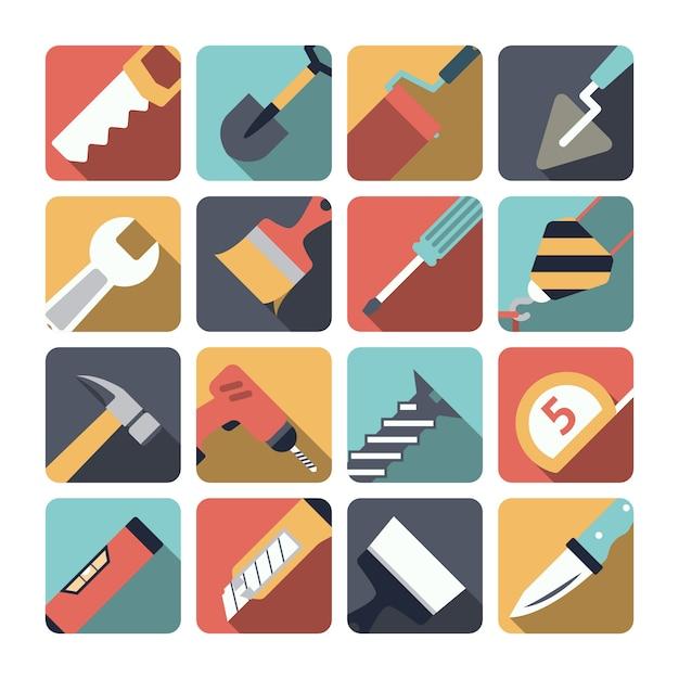 Home repair tools elements Free Vector