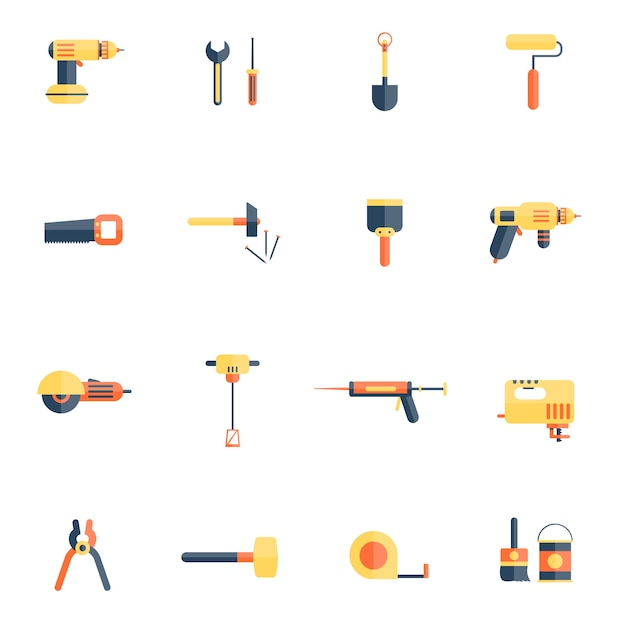 Home repair tools icon flat Free Vector