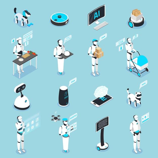 Collezione di icone isometriche di robot domestici con assistenti controllati con touchscreen digitale per animali domestici Vettore gratuito