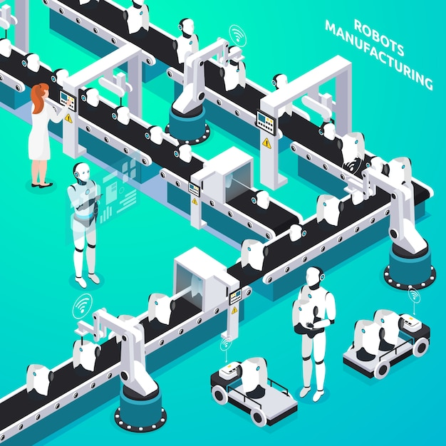 Home robots automated manufacturing line with woman and humanoid operators controlling process isometric composition Free Vector
