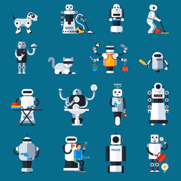 Home robots collection Free Vector