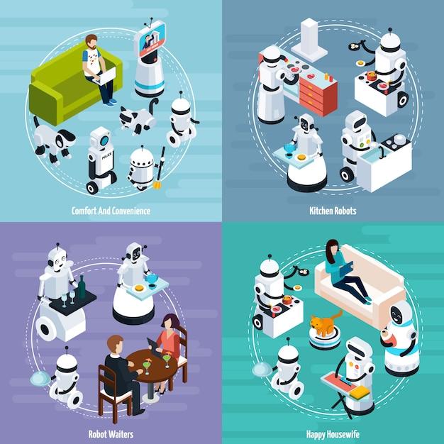 Home robots isometric design concept Free Vector
